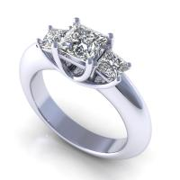 1.05CT princess  cut diamonds three stone ring