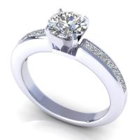 0.67CT round and princess  cut diamonds engagement ring