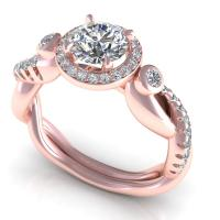 0.82CT round  cut diamonds engagement ring