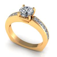 1.05CT round and princess  cut diamonds engagement ring