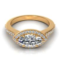 0.65CT marquise and round  cut diamonds engagement ring
