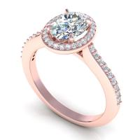 0.65CT oval and round  cut diamonds engagement ring