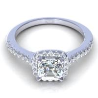0.70CT ascher and round  cut diamonds engagement ring