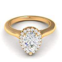 0.55CT pear and round  cut diamonds engagement ring