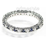 1.40CT Round Cut Diamonds and Sapphires Eternity Band