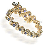 7.00CT Princess Cut Diamonds and Sapphires Tennis Bracelet