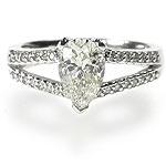 2.00CT Pear and Round Cut Diamonds Engagement Ring