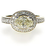 2.20CT Oval and Round Cut Diamonds Engagement Ring