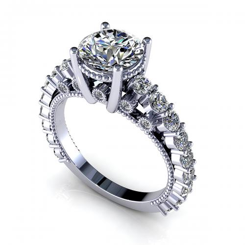 2.50CT Round Cut Diamonds Engagement Ring