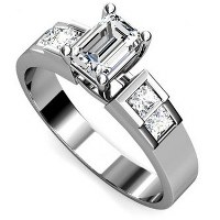 1.15CT Emerald and Princess Cut Diamonds Engagement Ring