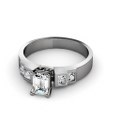 1.25CT Emerald and Princess Cut Diamonds Engagement Ring