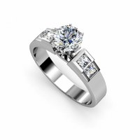 1.15CT Round and Princess Cut Diamonds Engagement R