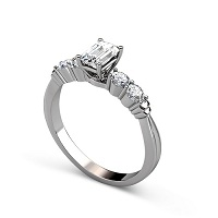 0.90CT Emerald and Round Cut Diamonds Engagement Ring