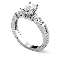 0.95CT Emerald and Princess Cut Diamonds Engagement Ring