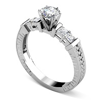 0.95CT Round and Princess Cut Diamonds Engagement Ring