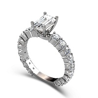 2.75CT Emerald and Round Cut Diamonds Engagement Ring
