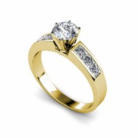 1.15CT Round and Princess Cut Diamonds Engagement Ring