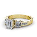 1.20CT Emerald and Princess Cut Diamonds Engagement Ring