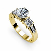1.20CT Round and Princess Cut Diamonds Engagement Ring