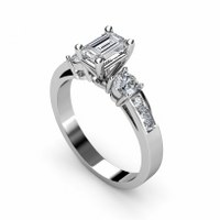 1.15CT Emerald and Round Cut  Diamonds Engagement Ring