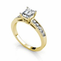 1.00CT Emerald and Round Cut  Diamonds Engagement Ring