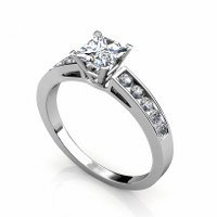 1.00CT Princess and Round and  Diamonds Engagement Ring