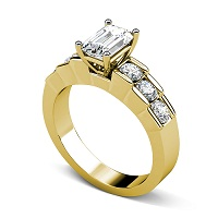 1.20CT Emerald and Round Cut Diamonds Engagement Ring