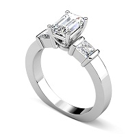 1.30CT Emerald Cut Diamonds Engagement Ring