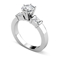 1.30CT Round and Princess Cut Diamonds Engagement Ring