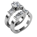 Diamond Bridal Set with 2.35CT Total Weight Round and Princess Cut Diamonds