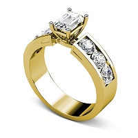 1.85CT Emerald and Round Cut  Diamonds Engagement Ring