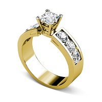 1.85CT Princess and Round Cut Diamonds Engagement Ring