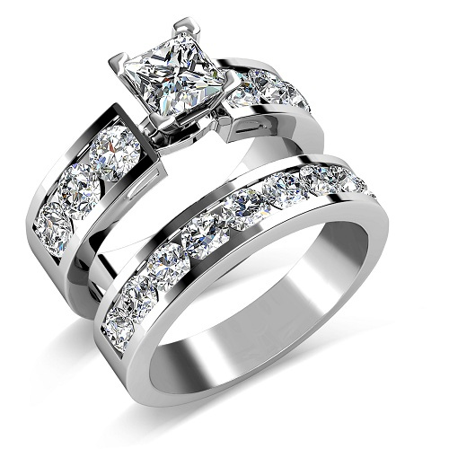 ... Set – 3.85CT princess and round Cut Engagement Ring and Wedding Band