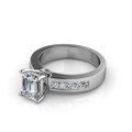 1.45CT Emerald and Princess Cut Diamonds Engagement Ring