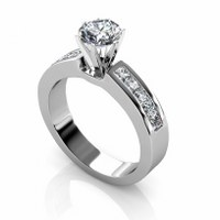 1.25CT Round and Princess Cut Diamonds Engagement Ring