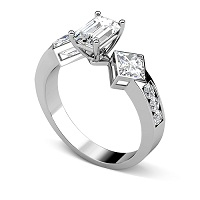 1.55CT Emerald and Round Cut Diamonds Engagement Ring