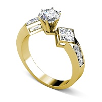 1.55CT Round and Princess  Cut Diamonds Engagement Ring