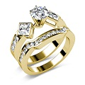 2.20CT Round and Princess Cut Diamond Bridal Set