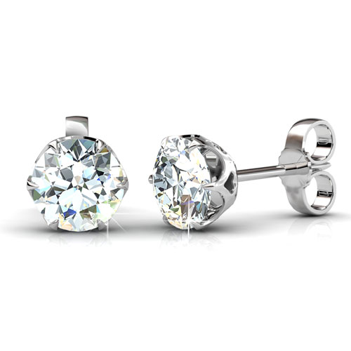 1.00CT Total Weight Diamond Stud Earrings with 14KT Yellow Gold