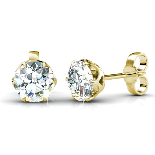 1.50CT Total Weight Diamond Stud Earrings with 14KT Yellow Gold