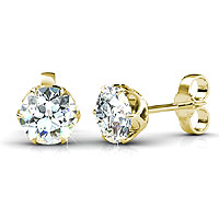 0.25CT Total Weight Diamond Stud Earrings with 14KT Yellow Gold