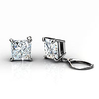 14KT White Gold Setting For 0.25CT Total Weight Princess Cut Diamond Stud Earrings