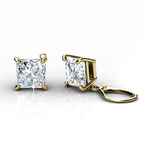 14KT Yellow Gold Setting For 1.50CT Total Weight Princess Cut Diamond Stud Earrings