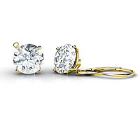 Round Cut Diamond Stud Earrings 1.00CT Total Weight In 14KT Yellow Gold Setting