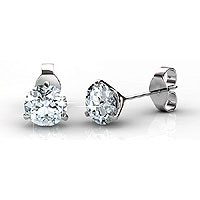 0.25CT Round Cut Diamond Stud Earrings In 14KT White Gold Setting