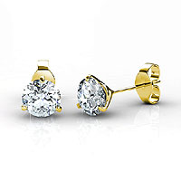0.25CT Round Cut Diamond Stud Earrings In 14KT Yellow Gold Setting