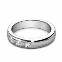 0.25CT Princess Cut Diamond Wedding Band