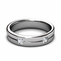0.45CT Princess Cut Diamond Wedding Band