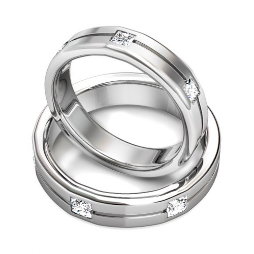 1.20CT Diamond Princess Cut Wedding Set and 14KT White Gold