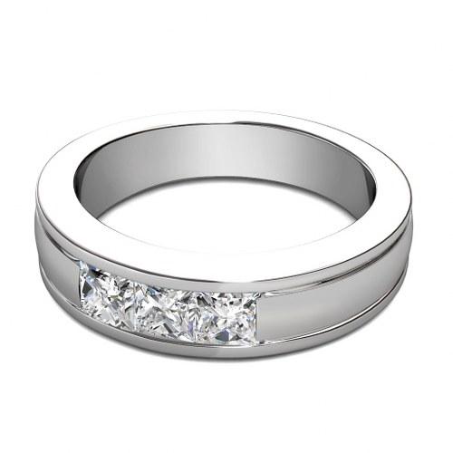 090CT Princess Cut Diamonds Mens Wedding Band In 14KT White Gold
